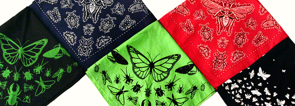 Five awesome bug bandanas now available in the shop!