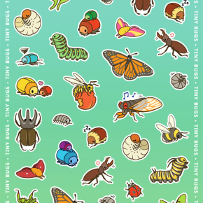 Tiny Bugs Sticker Sheet Design