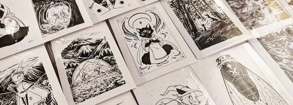 New ink work section featuring 2018 & 2019 Inktober challenges!
