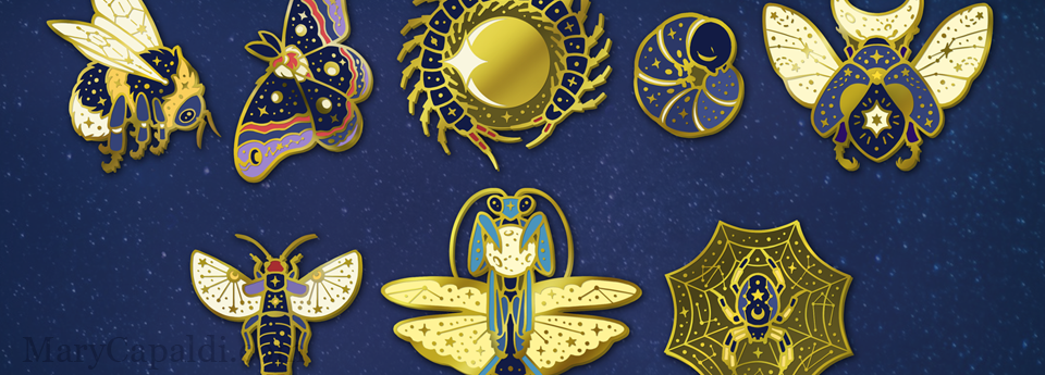 The Celestial Insects: Enamel Pins Kickstarter is now in fulfillment!